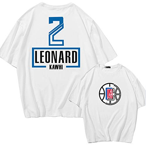 Dybory Camiseta para Hombre Los Angeles Clippers # 2 Kawhi Leonard Jersey, New Cotton Boys Youth Fashion Basketball Camiseta Sport Top,Blanco,M