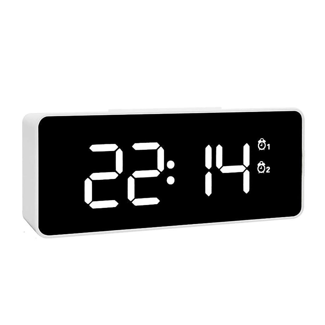 おじいちゃん単に献身目覚まし時計ワイヤレスブルートゥーススピーカー、温度計付きデジタル時計ベッドサイド、HD サウンドとベースドライバースピーカーフォン、マイク、TF カードスロットと屋外ステレオサブウーファーを時計,White
