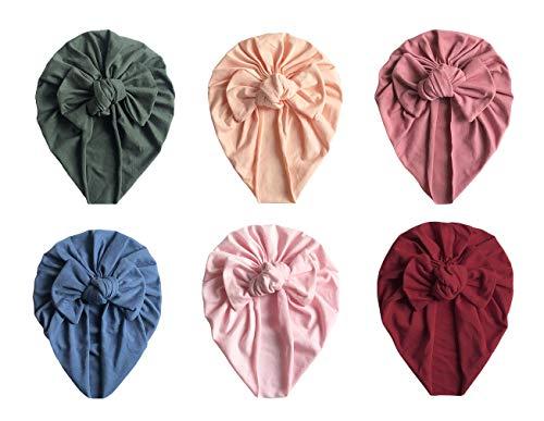 GEMVIE Turban Bonnet Bébé Fille Enfant Naissance 6 Pcs Chapeaux Bandeau Noeud Fleur Mignon Elastique Enfant Serre Tête Accessoires Nouveau Né