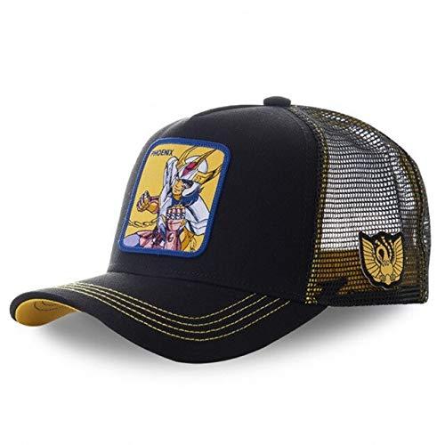 Gorra de bisbol Snapback de Dibujos Animados Hombres Mujeres Hip Hop Dad Mesh Trucker Hat-Phoenix Black