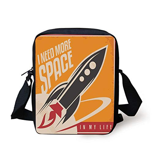 Vintage Kids Crossbody Messenger Bag Purse,Space and Real Life with Rocket Taking Flight Planet Cosmos Past Time Slogan Theme,Cross Body Bags boys Girls 3D Printed Shoulder Bag,Printed Multicolor