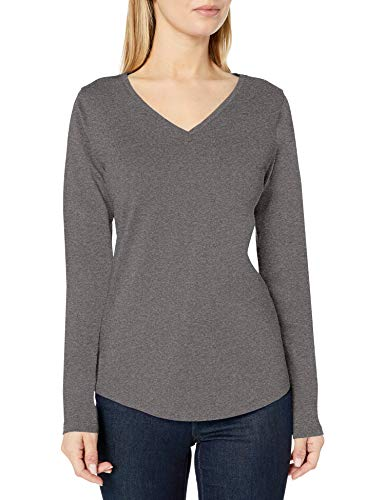 Amazon Essentials Women's Classic-Fit 100% Cotton Long-Sleeve V-Neck T-Shirt, Charcoal Heather, Large