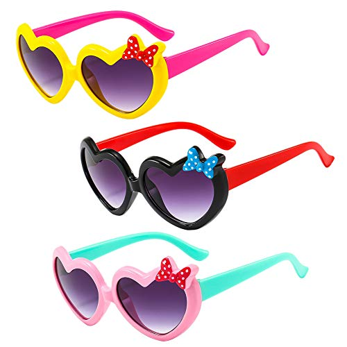 Hilloly Bambini Occhiali da Sole Ragazzi,QSXX 3 Pezzi Occhiali da Sole Squisito e Carino Bambini Occhiali da Sole Ragazze per Bambini Per Attività All'Aperto,Spiaggia Occhiali da Sole 3 Colori