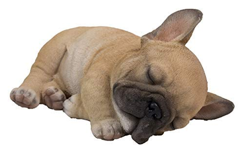French Bulldog - Sleeping French Bulldog Puppy Statue for Home Garden and Outdoor Decor - Realistic Lifelike Figurine - Made of Polyresin - Colour : Brown 3.3'' H x 4.6'' W x 7'' D