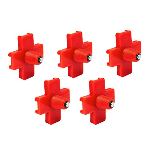 Balacoo - Lote de 5 botes de chupete automático para pollo, diseño de lunares, color rojo