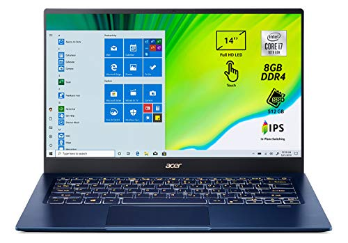 Acer Swift 5 SF514-54T-7500 Notebook portatile, Intel Core i7-1065G7, Ram 8GB, 512GB PCIe NVMe SSD, Display Multi-touch 14  FHD IPS LED LCD, Grafica Intel IrisPlus, Pc portatile, Windows 10 Home, Blu