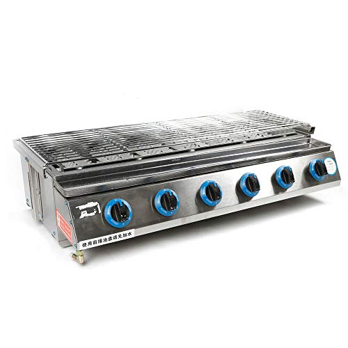 Eapmic Tabletop Grill Smokeless BBQ with 6 Burners Portable Gas Barbecues Griddle with 6 Independent Switches Gas Grill Griddle for Parties, Backyard barbeques, Camping, Tailgating or Picnicking Gas Grills Natural