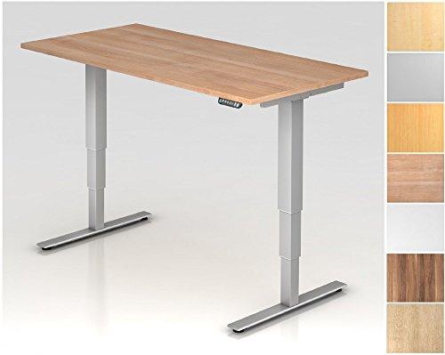 Elektrisch höhenverstellbarer Schreibtisch, Rechteckform, Arbeitshöhe 635-1285 mm, Gestell T-Fuß Stahl Silber, Tischplatte - Dekor:Ahorn;Größe:1600 x 800 mm