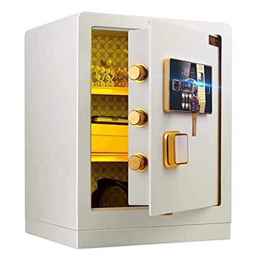 Caja fuerte de seguridad, cajas fuertes para el hogar a prueba de fuego - alarma electrónica 39x33x50cm con 5 pernos de acero dobles, huella dactilar desbloqueada, caja fuerte para muebles para hotel,
