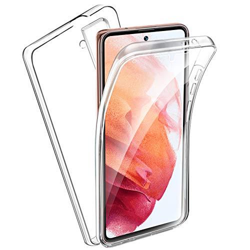 AROYI Hülle Kompatibel mit Samsung Galaxy S21 5G/4G Hülle 360 Grad Handyhülle, Silikon Crystal Full Schutz Cover 2in1 Separat Hart PC Zurück mit Weich TPU Vorderseite Vorne und Hinten
