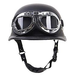 AEDFD Motorradhelm Zum Halboffenen Öffnen Motorrad-Kollisionsschutz ECE-DOT-Zertifizierung Schutzhelm Mit Schutzbrille Einstellbare Größe Chopper Moped Roller,Matte Black-XL