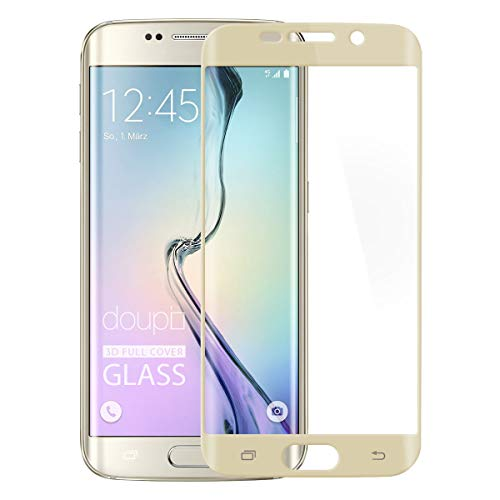 doupi FullCover Panzerfolie für Samsung Galaxy S6 Edge Plus, Preimium 9H Hartglas HD Bildschirmschutz Anti Kratzer Glas Schutzfolie, Gold