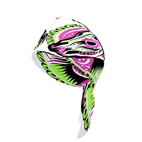 Día de la Casa Muerta Gorra de Trabajo con Botón y Banda de Sudadera, Ajustable Bouffant Sombreros Atrás Sombrero Headwraps Impreso en 3D para Mujeres Hombres