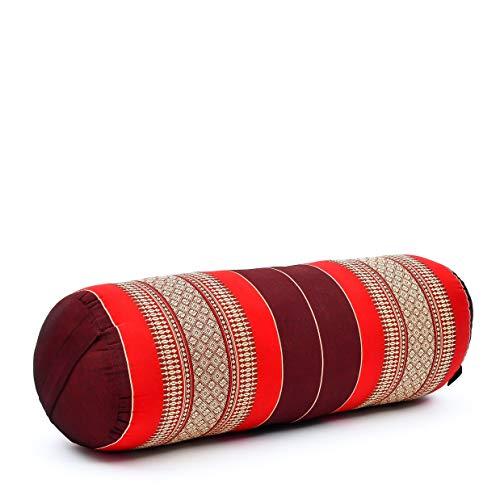Leewadee Yoga Bolster Medio: Supporto per Pilates Allungato e Cuscino da Meditazione, Realizzato a Mano in kapok Ecologico, 65 x 25 x 25 cm, Rosso