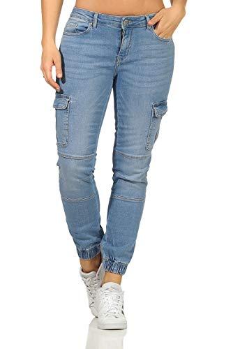 ONLY Damen Ankle Jeans Cargohose Missouri 15225097 Light Blue Denim L/30