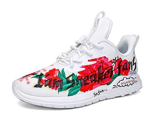 Zapatillas deportivas de malla unisex con estampado floral con cordones para correr, color Blanco, talla 42.5 EU