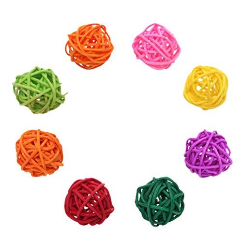 Popetpop - 10 bolas de mimbre de ramas de sauce, para pájaros, loros y pájaros, para colgar en jaula, adorno para animales pequeños (color al azar)