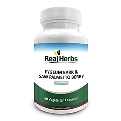 Real Herbs Pygeum Bark Pure Extract 4:1 350mg and Saw Palmetto Pure Extract 3:1 350mg - 700mg - Promotes Prostate Health, Supports Urinary Tract Health, Improves Sexual Function - 50 Vegetarian Capsules from Real Herbs