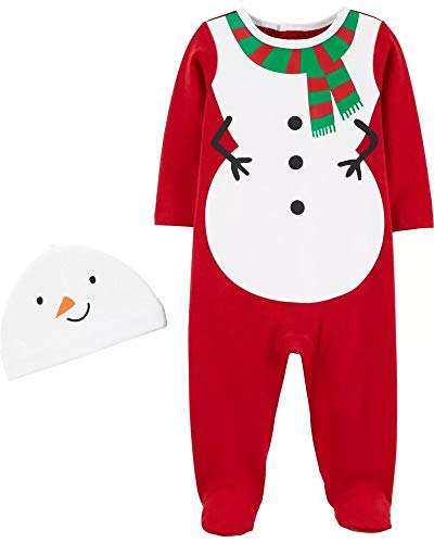 Carter's Baby 2-Piece Snowman and Reindeer Coverall & Hat Set for Christmas (Christmas White/red, 9 Months)