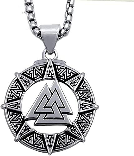 banbeitaotao Collar con Colgante de Peltre para Hombre, símbolo de los Guerreros nórdicos con Cadena de Acero Inoxidable de 24 Pulgadas