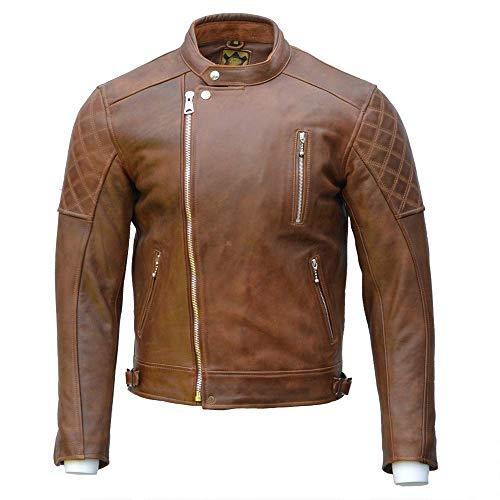 Goldtop Bobber CE - Chaqueta de moto aprobada por AAA - marrón encerado   blindada con armadura extraíble CE Knox Microlock (48 pulgadas)