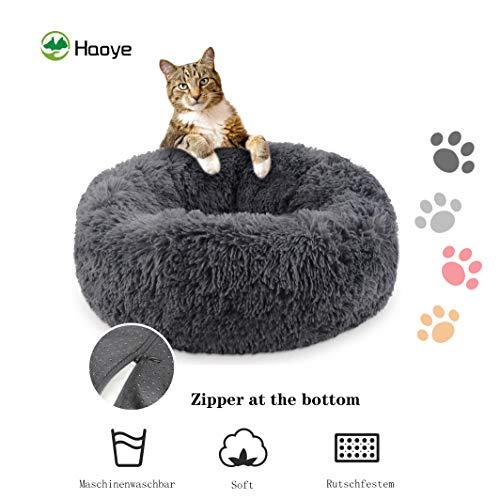 Deep Sleep Hundebett, abnehmbar und waschbar, Warmes weiches Plüsch, bequem im Auto zu tragen, Luxuriösen Schlaf, für Katzen Hunde - Dunkelgrau Ø 80cm