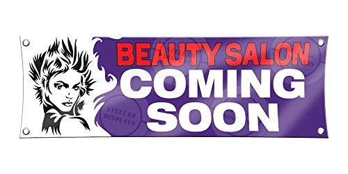 Beauty Salon Coming Soon Banner 1ft X 3ft Vinyl Sign Hair Stylist Poster Boutique Shop Event Display