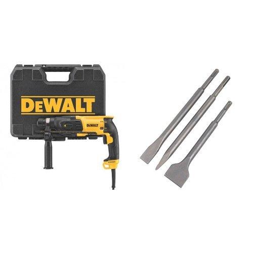 DeWalt D25133K-QS - Martillo Ligero Combi 800W 3 Modos- 26mm 2,6J - SDS Plus - P.Pistola con maletín TSTAK + DT60330-QZ - Juego SDS-Plus: Puntero 250mm + Cincel 20x250mm +Cincel 40x250mm