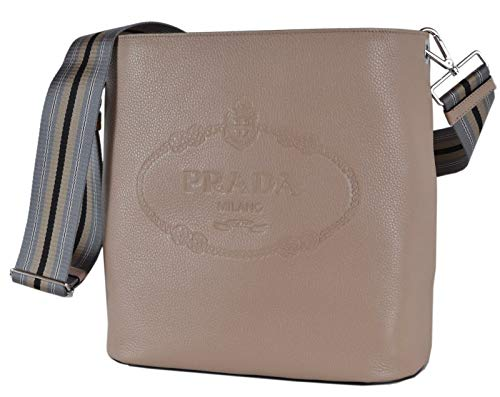 Prada Beige Logo Web Stripe Strap Pebbled Leather Crossbody Shopping Tote Bag 1BE023