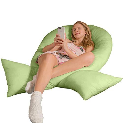 Traumreiter Jumbo XXL Seitenschläferkissen mit Bezug lind-grün I Schwangerschaftskissen U Form Full Body Pillow Seitenschläfer Kissen für Schwangere Lagerungskissen