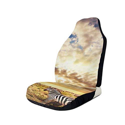 Alice Eva Sitzbezüge für Auto, Fahrzeug Sitzschutz Auto Mattenbezüge, afrikanische Landschaft Zebras Herde auf Savanne bei Sonnenuntergang C.