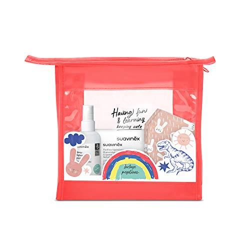 SUAVINEX 307634 Neceser Higienizante con 2x Mascarillas Higiénicas Reutilizables Niños 6-10 años + Spray Higienizante 100ml + Toallitas Higienizantes Manos + Pegatinas, Rojo, 5 productos