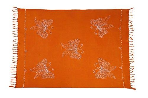 Ciffre Sarong Pareo Wickelrock Lunghi Stickerei Schmetterling Tuch Orange Handtuch