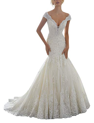 SongsurpriseMall V-hals trouwjurk bruidsjurk zeemeermin bruidsjurken voor dames kant met parels