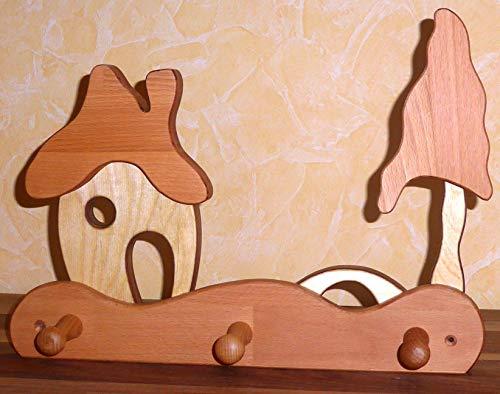 Kindergarderobe Haus mit Schornstein, Brücke, Baum, Massivholz