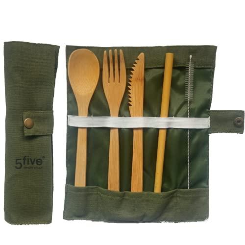 CUBIERTOS DE BAMBÚ Reutilizables | Cubiertos madera ecológicos |Utensilios madera | Set para picnic | Set cubiertos para camping | Cucharada, tenedor, cuchillo, pajita y cepillo de limpieza