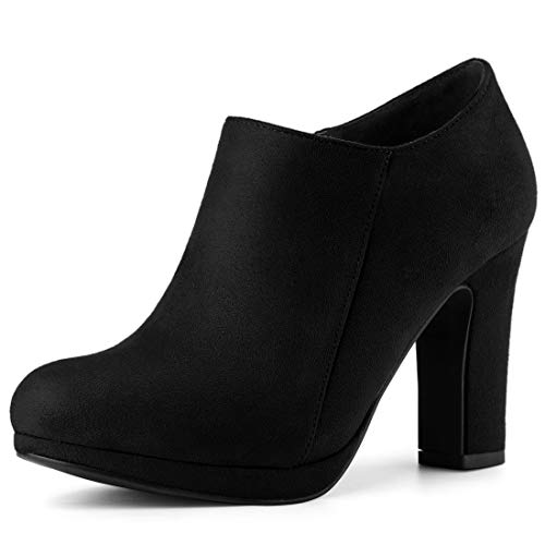 Allegra K Women's Platform Round Toe Chunky Heel Black Ankle Booties 8.5 M US
