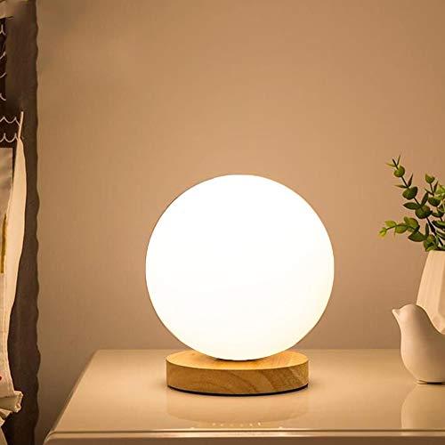 Chao Zan Moderna lámpara de mesa lámpara de noche Madera Vidrio lámpara de noche E27 lámpara de lectura redonda blanca lámpara de mesa con interruptor para dormitorio sala de estudio Cafetería