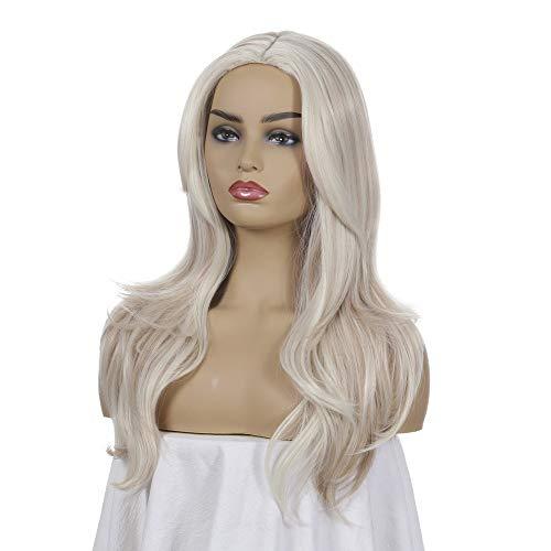 JYJYJ Realistische synthetische gewellte Blonde eisblonde Perücke, dunkle Wurzel Ombre Haarperücke, synthetische platinblonde Perücke mit schwarzen Wurzeln, Mittelteil 22-Zoll-Perücke,Braun