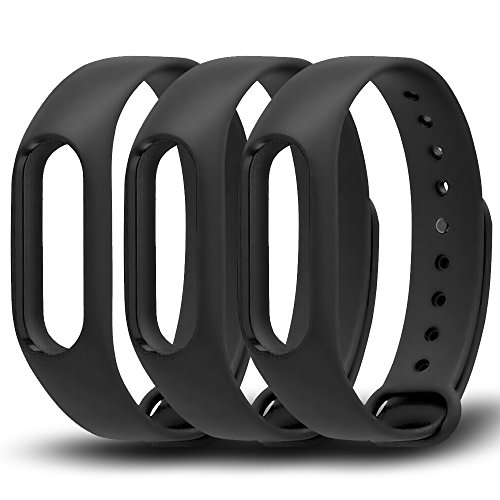 awinner negro impermeable de repuesto para XIAOMI Mi Banda 2 inteligente Miband 2 nd (sin actividad rastreador), paquete de 3 , Negro