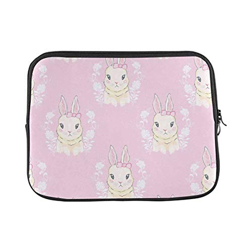 INTERESTPRINT Laptop Sleeve Cute Cartoon Bunny Notebook Neoprene Pouch Case Bag 14 Inch 14.1 Inch