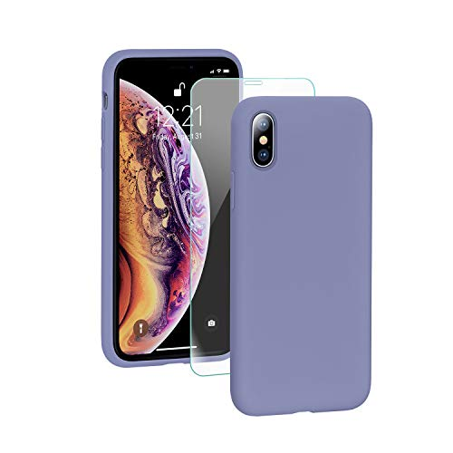 SmartDevil Funda para iPhone XS MAX + Vidrio Templado, [Totalmente protector] Funda de goma de gel de silicona Líquida a prueba de golpes Funda .Microfibra suave Forro Cojín para iPhone XS MAX-Púrpura