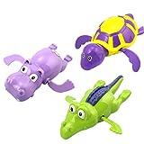 Yeahibaby 3 unids Piscina Wind Up Juguetes de Baño Animales Tortuga Hipopótamo Crocodile Bañera de Natación Bañera Clockwork Jugar Juguete Niños Niños Educativos Juguetes de Agua