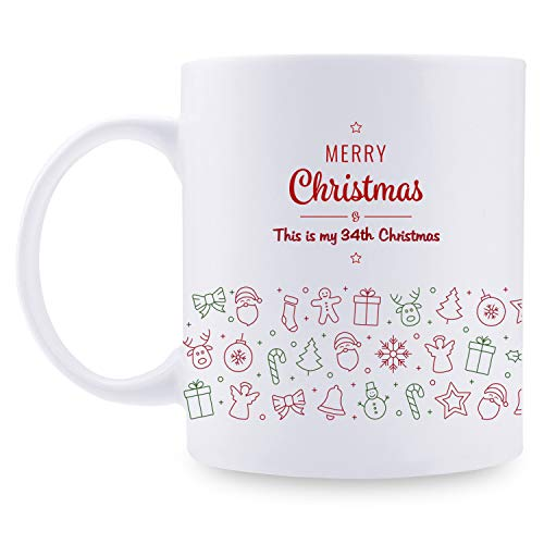 34th Birthday Gifts for Women - 34th for Women, 34 Year Old Birthday Gifts, Santa Claus Mug, 11oz Christmas Tree Mug for Party, Celebration, Meeting