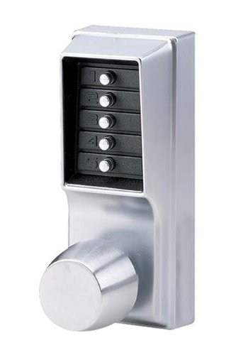 Simplex - 103126D Kaba 1000 Series Combination Entry Cylindrical Mechanical Pushbutton Lock with Knob, Passage, Cylindrical 13mm Throw Latch, Floating Face Plate, 70mm Backset, Satin Chrome Finish