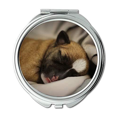Espejo compacto, cachorro Chihuahua perro lindo acogedor mascota pequeño marrón, espejo de bolsillo, espejo portátil