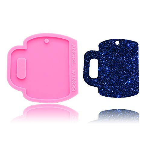 Drink Glass Cup Ceramic Mug Shaped Keychain Keyring Tag Silicone Mold with Hole DIY Cupcake Cake Topper Decoration Ice Cream Jelly Shots Fondant Mold Gum Paste Pudding Desserts Crystal Candy