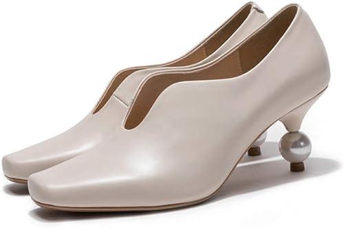 VIVIOO Chaussures pour Femmes Chaussures en Cuir véritable Talon Haut Chaussures Les Les dames été Printemps Robe Chaussures Femme