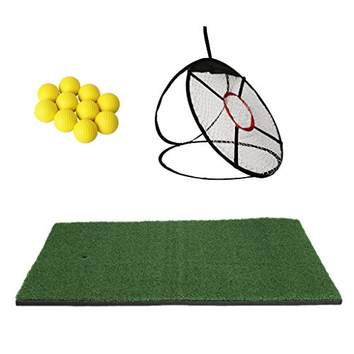 Homyl 24' Tapis d'Entraînement Golf + Filet Formation de Chipping de Golf + 10pcs Balle de Golf en...