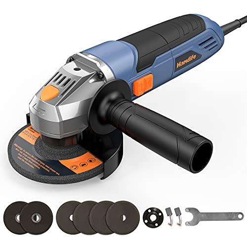 Amoladora Angular 900W con Regulador de Velocidad, Ø 125mm 12000 RPM Radial Grande Rotaflex Rebarbadora, con 4x Discos Amoladora y 2x Discos Cortar, Radial Pequeña para Esmerilado / Pulido / Corte
